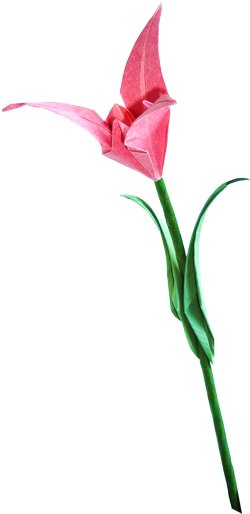 Single Origami Flower On A Stem Clipart