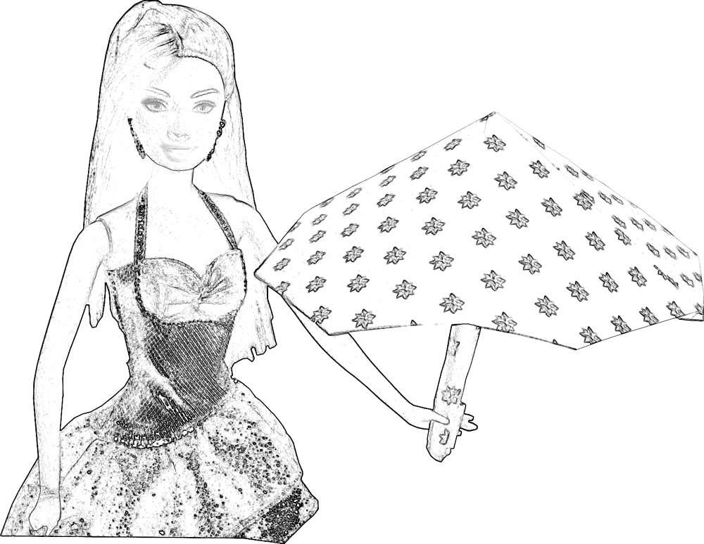 Colouring Picture Barbie With An Origami Umbrella
