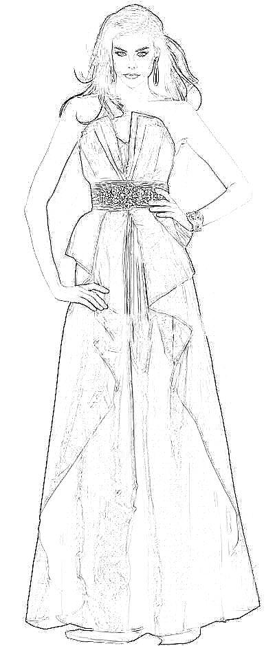 Mode Kleurplaat Van Een Rijke Vrouw In Een Galajurk
