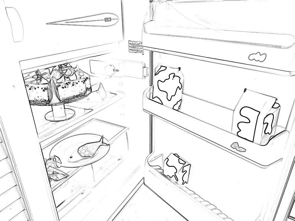 Kleurplaat van een taart met slagroom in een koelkast