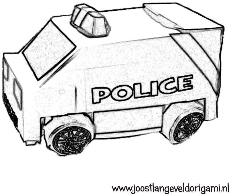 kleurplaat  politie busje