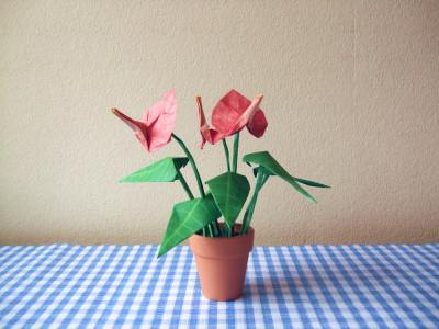 beautiful origami anthurium flowers in a tiny pot