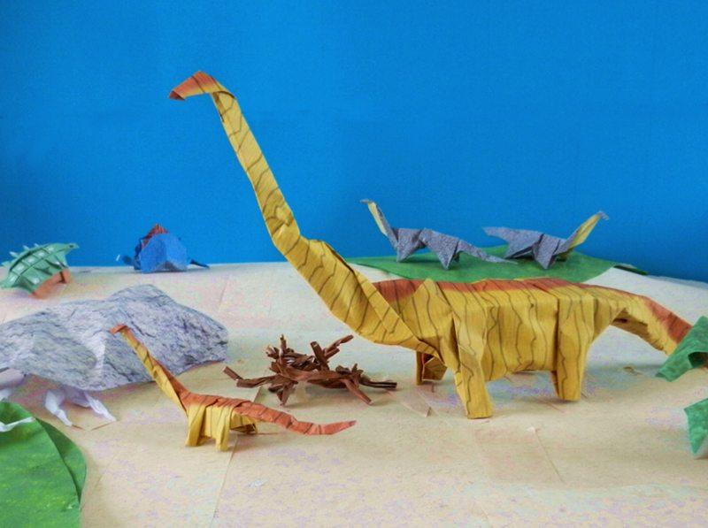 Origami Dinosaur Velociraptor - easy origami - How to make an ... | 597x800