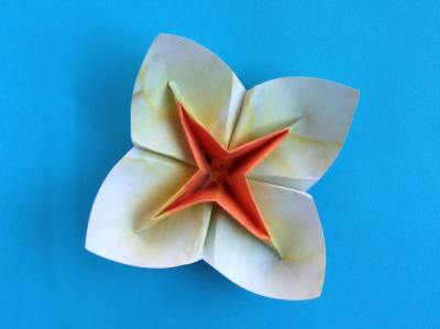 Joost langeveld origami page lovely white and orange coloured origami flower beautiful origami flower with four petals mightylinksfo Images