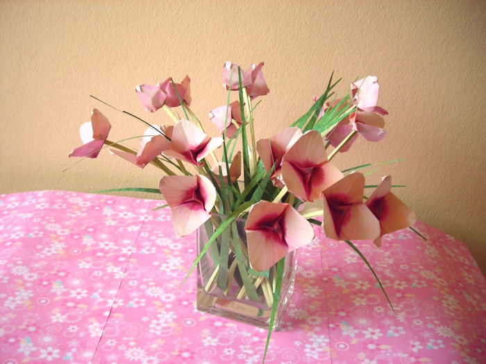 sweet arrangement of pink paper flowers