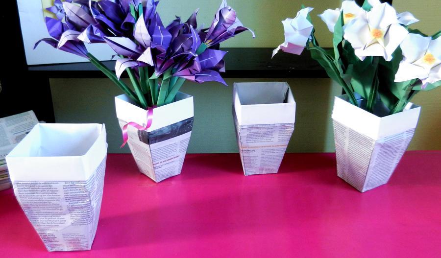 Origami Newspaper Dress Flowers Flower Pots