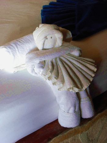 towel origami doll