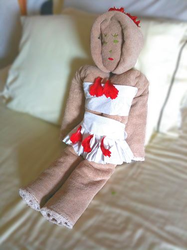 towel origami doll with skirt